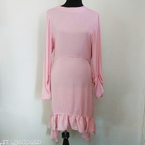 NWT Zara pink 3/4 sleeve ruffle trim midi dress